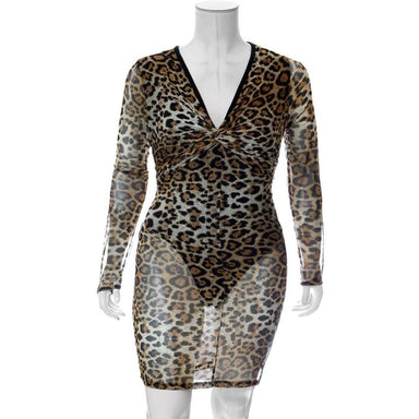 Posh Shoppe: Plus Size Twist Front Sheer Mini Dress, Animal Print Dress