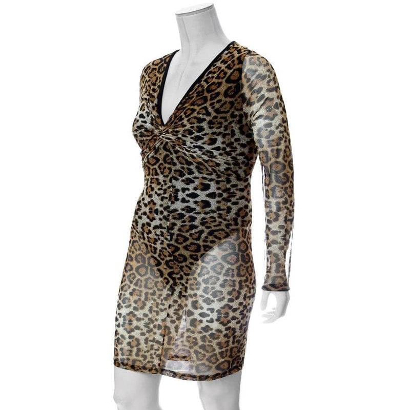 Plus Size Twist Front Sheer Mini Dress, Animal Print