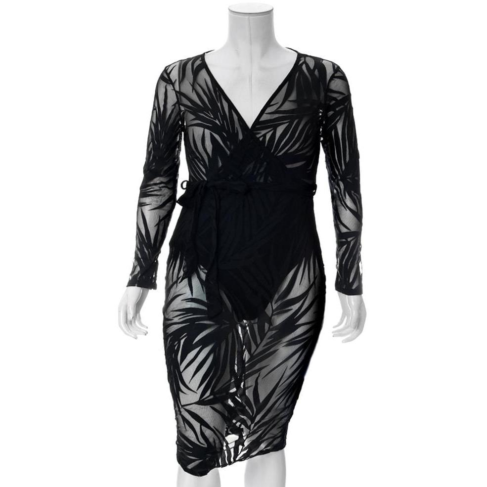 Plus Size Sheer Mesh Leaf Pattern Faux Wrap Dress, Black