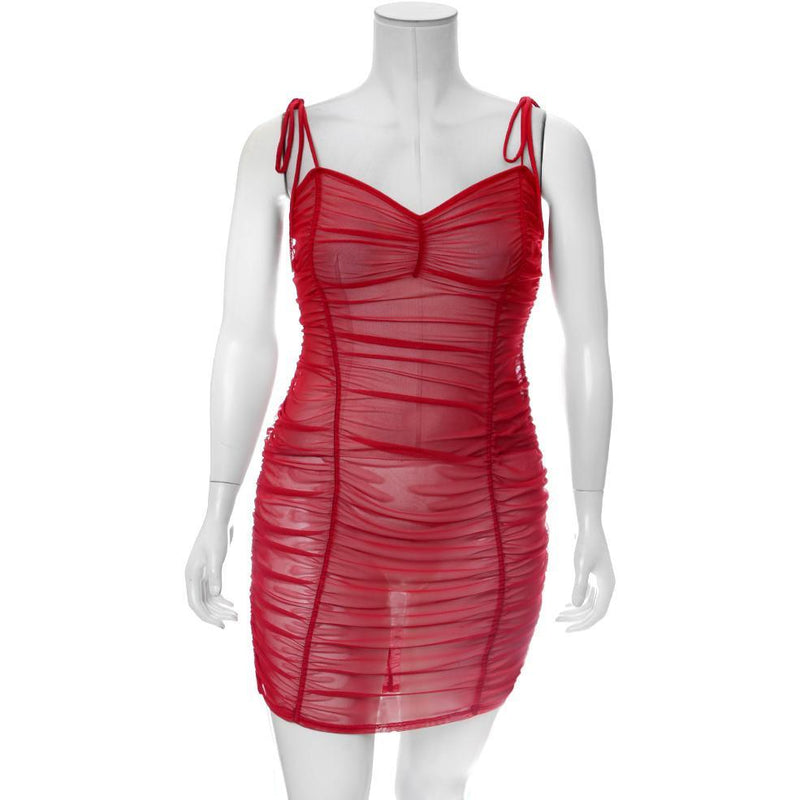 Plus Size Ruche Mesh Slip Dress, Red