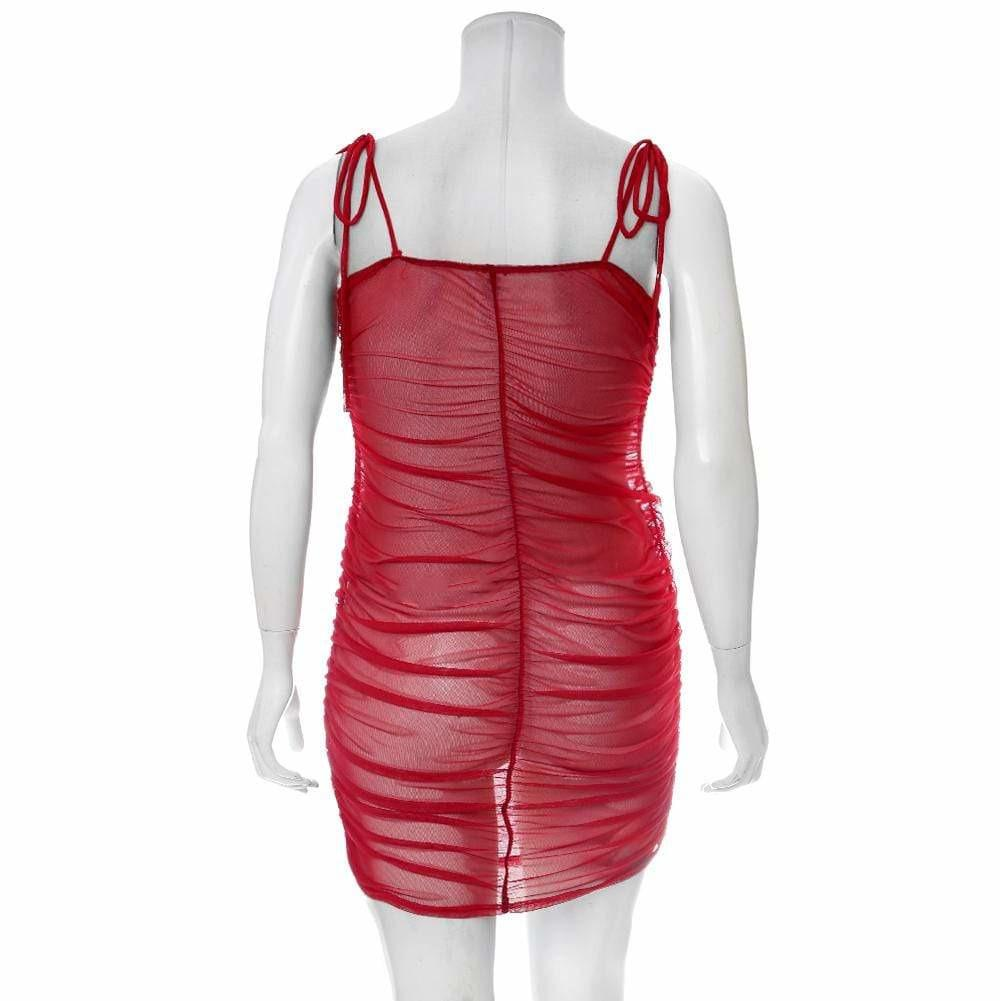 Posh Shoppe: Plus Size Ruche Mesh Slip Dress, Red Dress