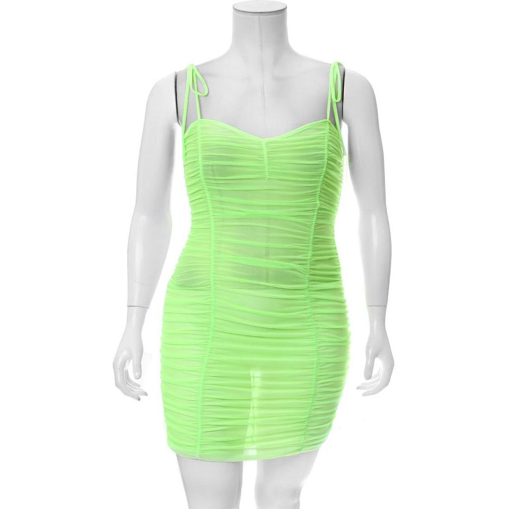 Plus Size Ruche Mesh Slip Dress, Neon Green