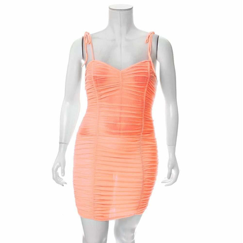 Posh Shoppe: Plus Size Ruche Mesh Slip Dress, Neon Orange Dress