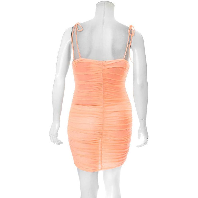 Plus Size Ruche Mesh Slip Dress, Neon Orange