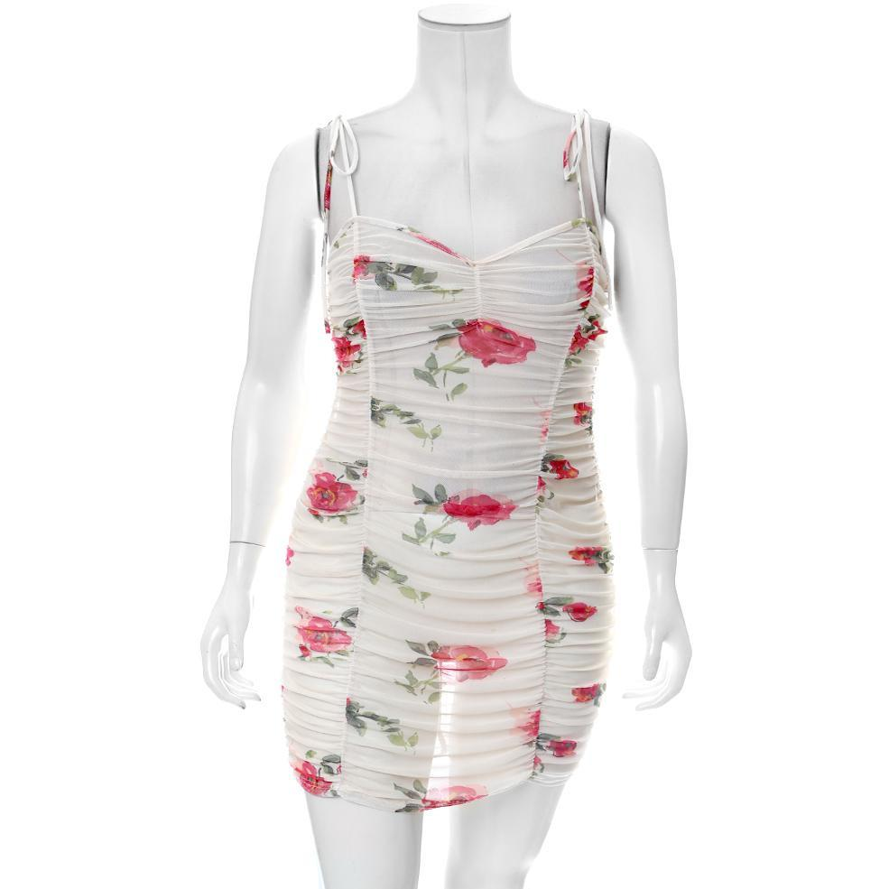Posh Shoppe: Plus Size Ruche Mesh Slip Dress, Floral Print Dress