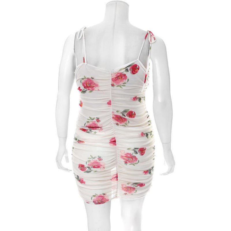 Plus Size Ruche Mesh Slip Dress, Floral Print