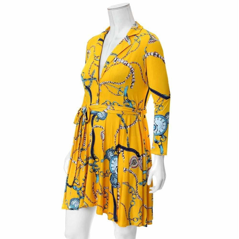 Plus Size Printed Flare Dress, Canary