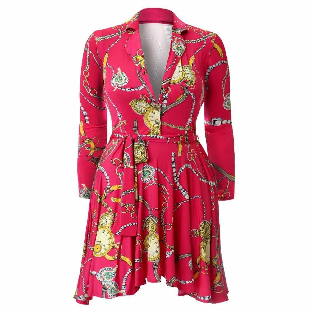 Posh Shoppe: Plus Size Printed Flare Dress, Fuschia Dress