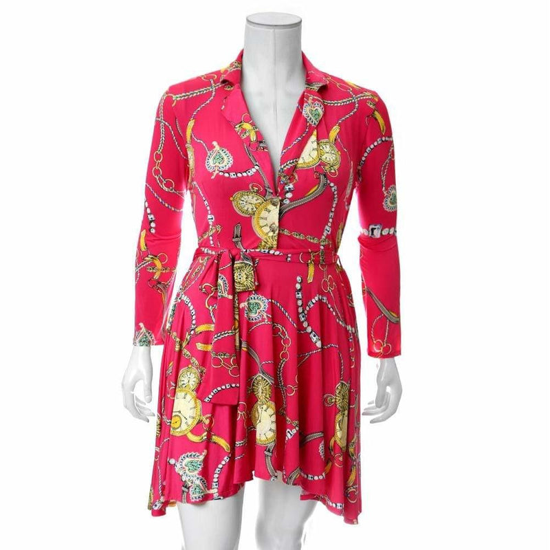 Plus Size Printed Flare Dress, Fuschia