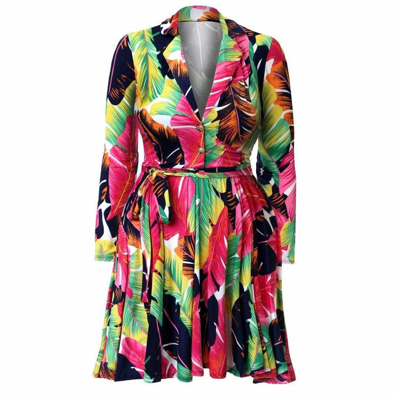 Posh Shoppe: Plus Size Printed Flare Dress, Pink Palms Dress