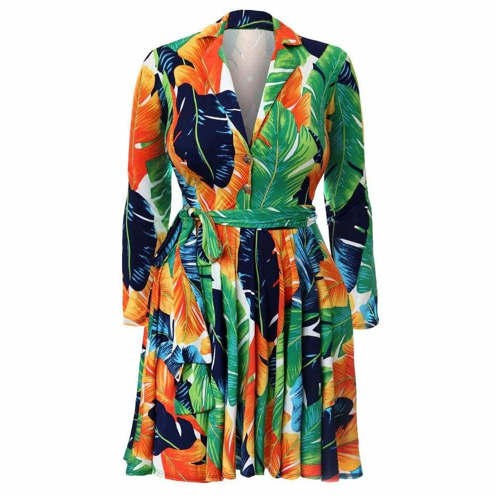 Posh Shoppe: Plus Size Printed Flare Dress, Orange Palms Dress