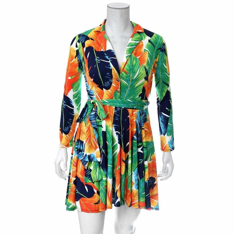 Plus Size Printed Flare Dress, Orange Palms