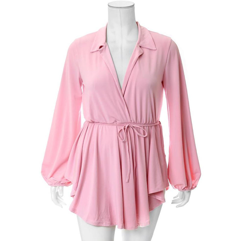 Plus Size Shirt Romper, Blush