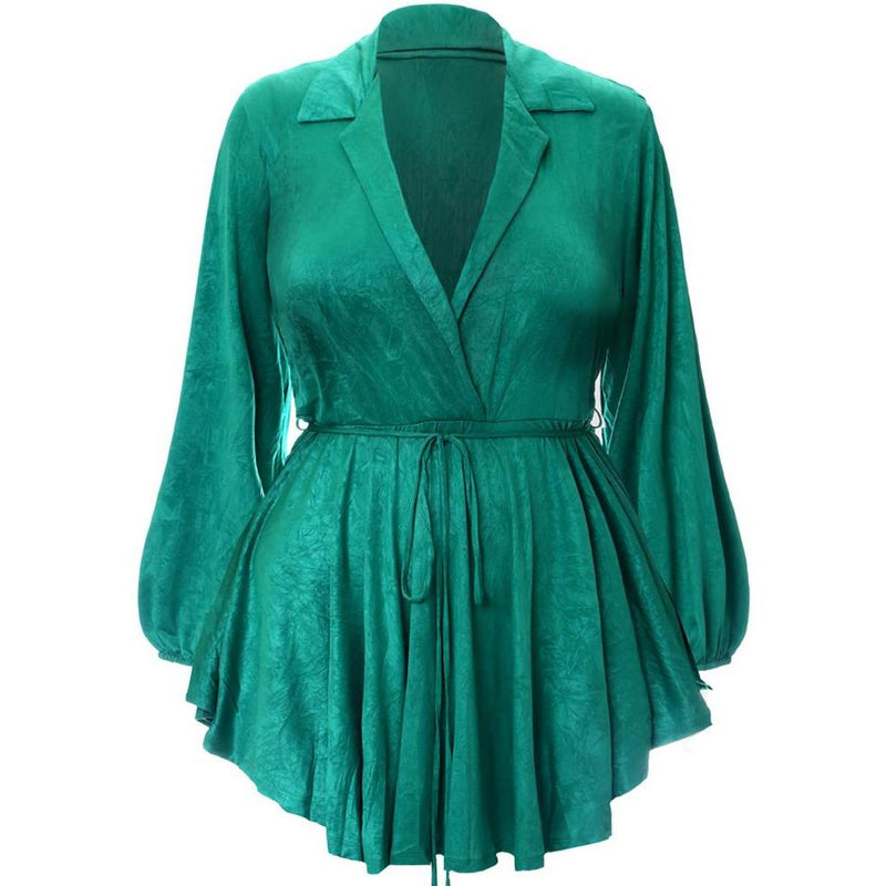 Plus Size Shirt Romper, Green Crush