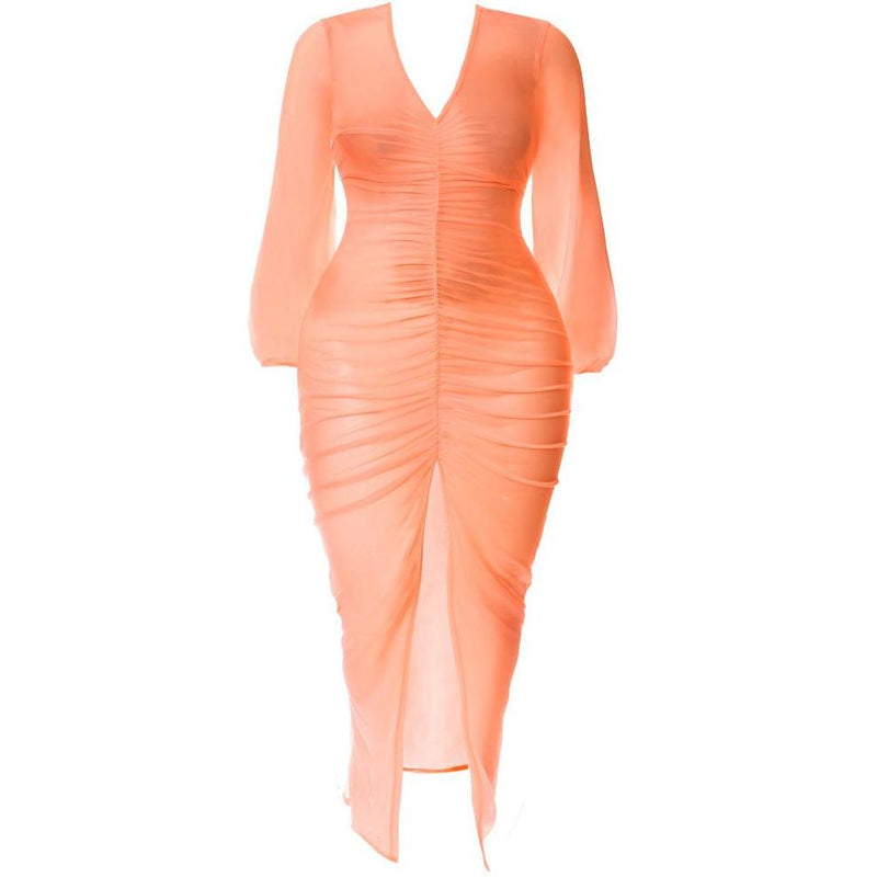 Plus Size Slit Front Mesh Maxi Dress, Neon Orange