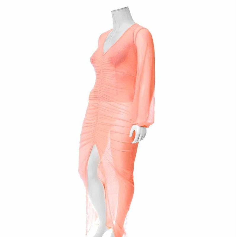 Posh Shoppe: Plus Size Slit Front Mesh Maxi Dress, Neon Orange Dress