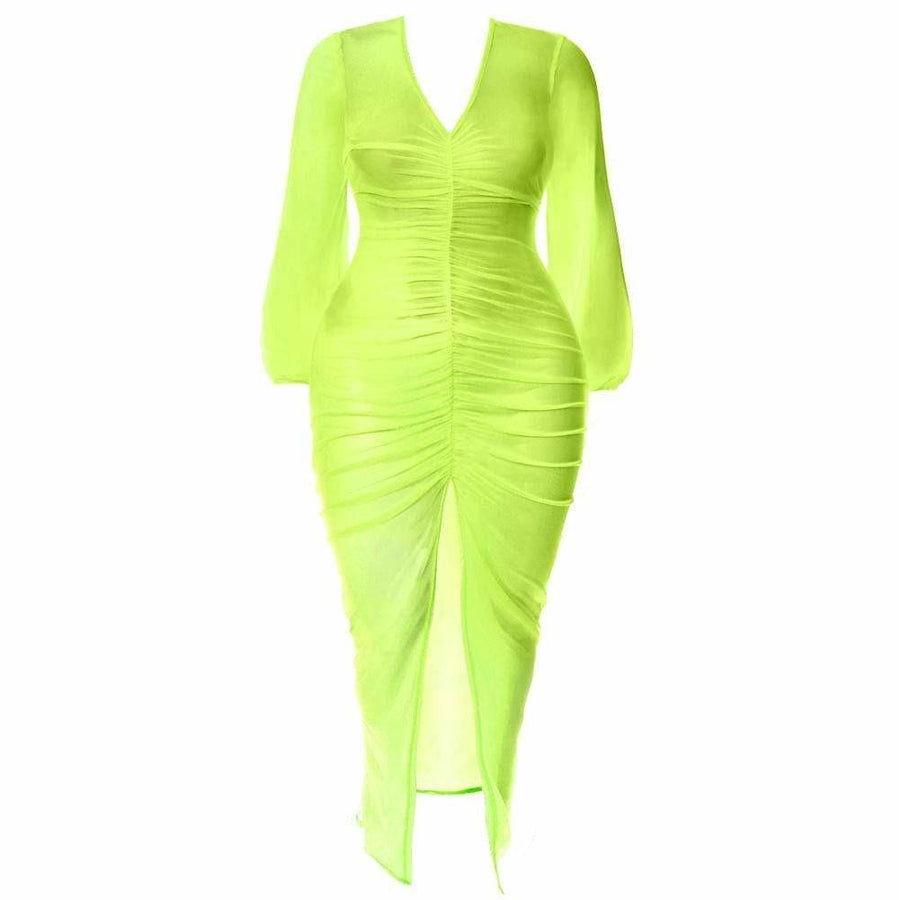 Plus Size Slit Front Mesh Maxi Dress, Neon Green – Posh Shoppe
