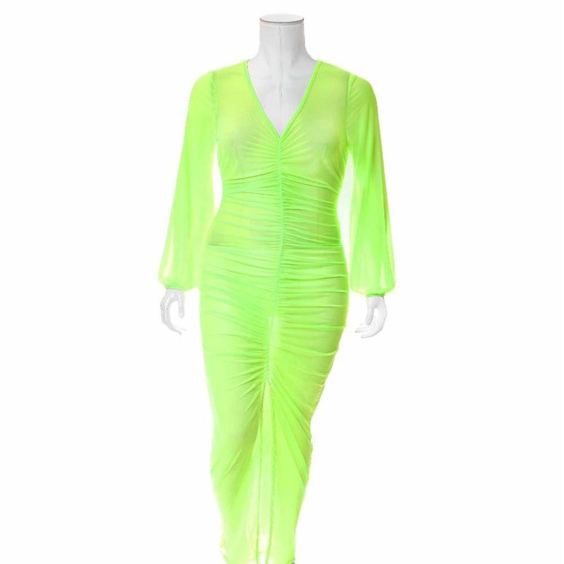 Plus Size Slit Front Mesh Maxi Dress, Neon Green