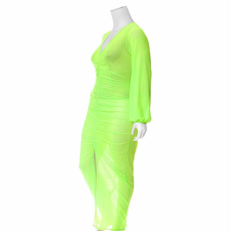 Posh Shoppe: Plus Size Slit Front Mesh Maxi Dress, Neon Green Dress