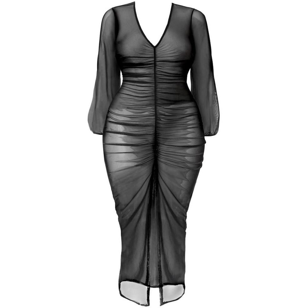 Plus Size Slit Front Mesh Maxi Dress, Black