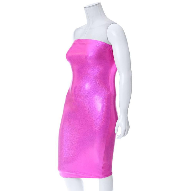 Plus Size Hi-Shine Strapless Dress, Cosmic Pink