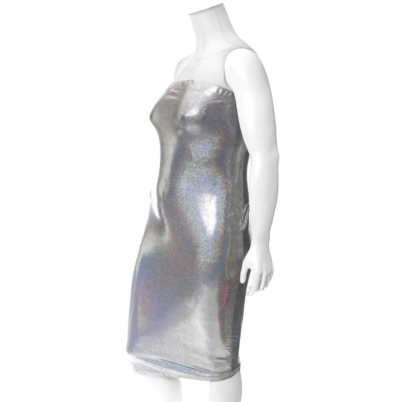 Plus Size Hi-Shine Strapless Dress, Cosmic Silver