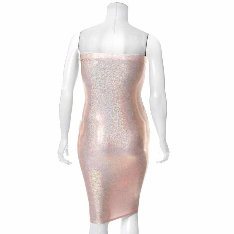 Plus Size Hi-Shine Strapless Dress, Rose Gold