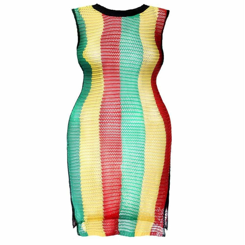 Plus Size Crochet Side Slit Sleeveless Dress