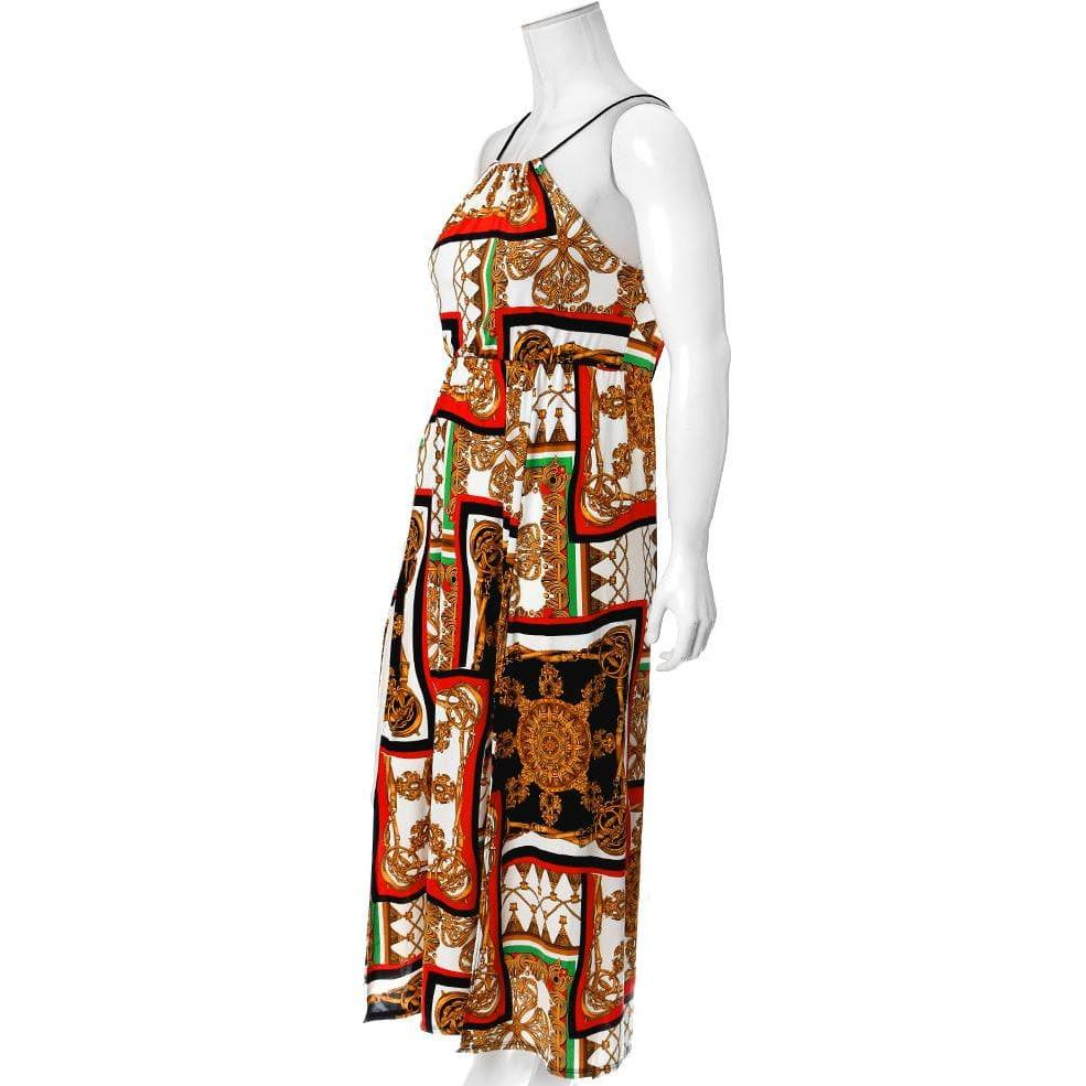 Posh Shoppe: Plus Size Scarf Print Maxi Halter Dress with Slits, Red Dress