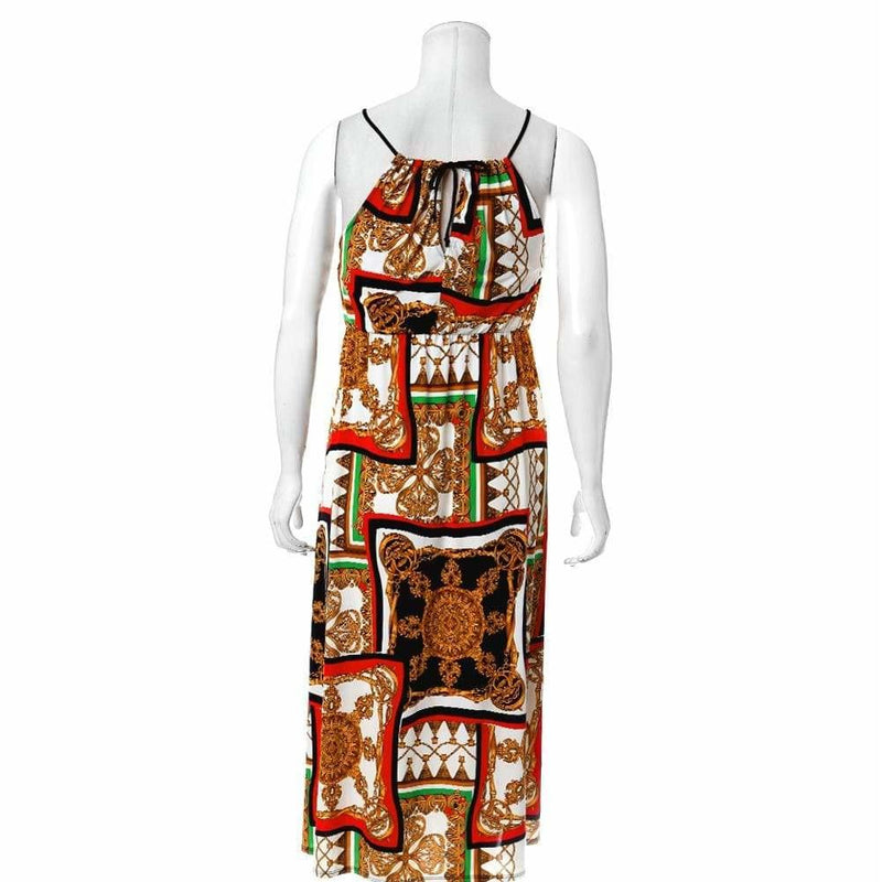 Plus Size Scarf Print Maxi Halter Dress with Slits, Red