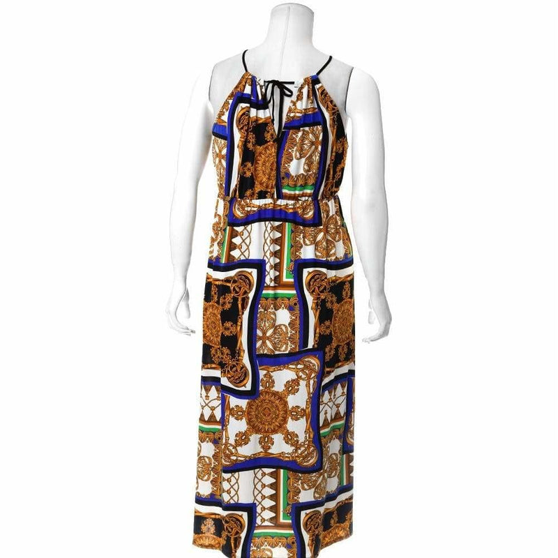 Plus Size Scarf Print Maxi Halter Dress with Slits, Blue