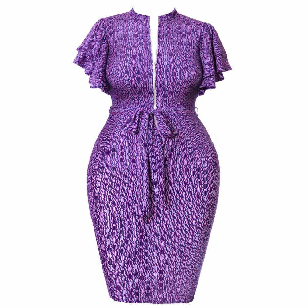 Posh Shoppe: Plus Size Printed Flutter Sleeve Midi Dress, Purple and Pink Dress