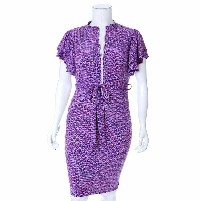 Plus Size Printed Flutter Sleeve Midi Dress, Purple and Pink