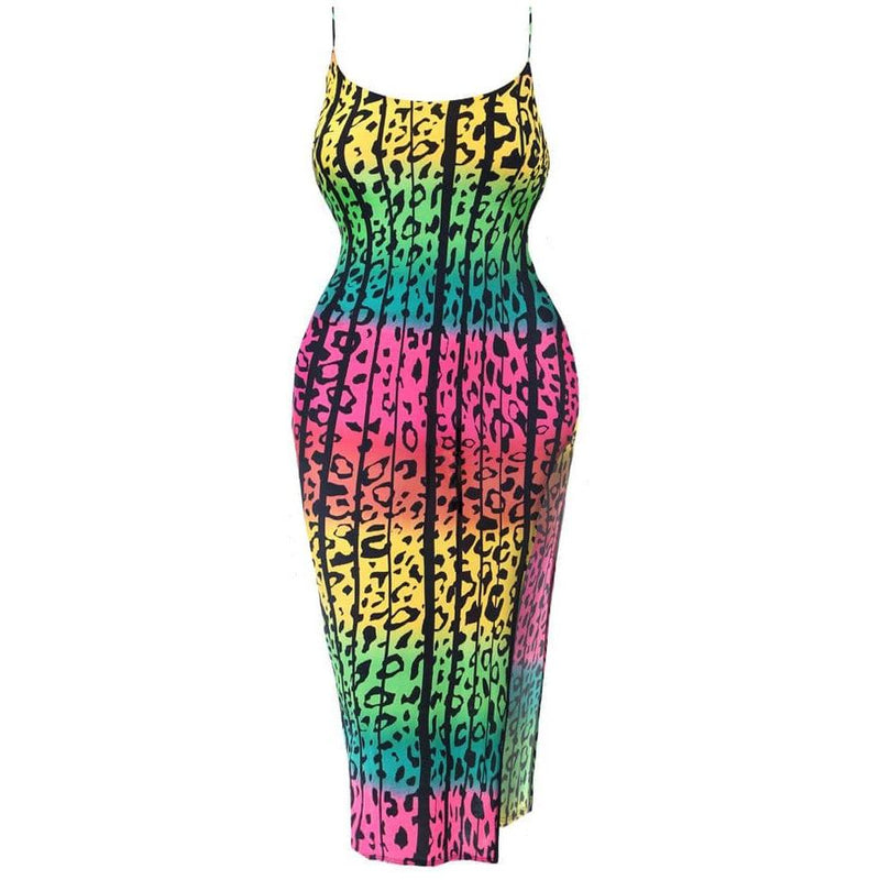 Posh Shoppe: Plus Size Ombre Animal Print Slip Dress Dress