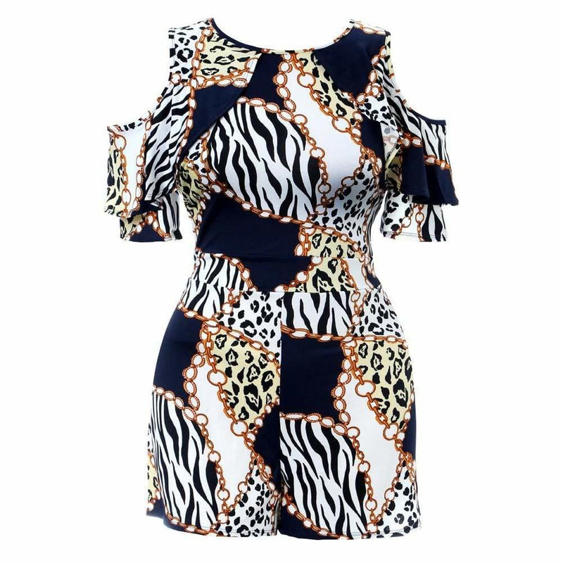 Plus Size Cold Shoulder Chain Print Romper