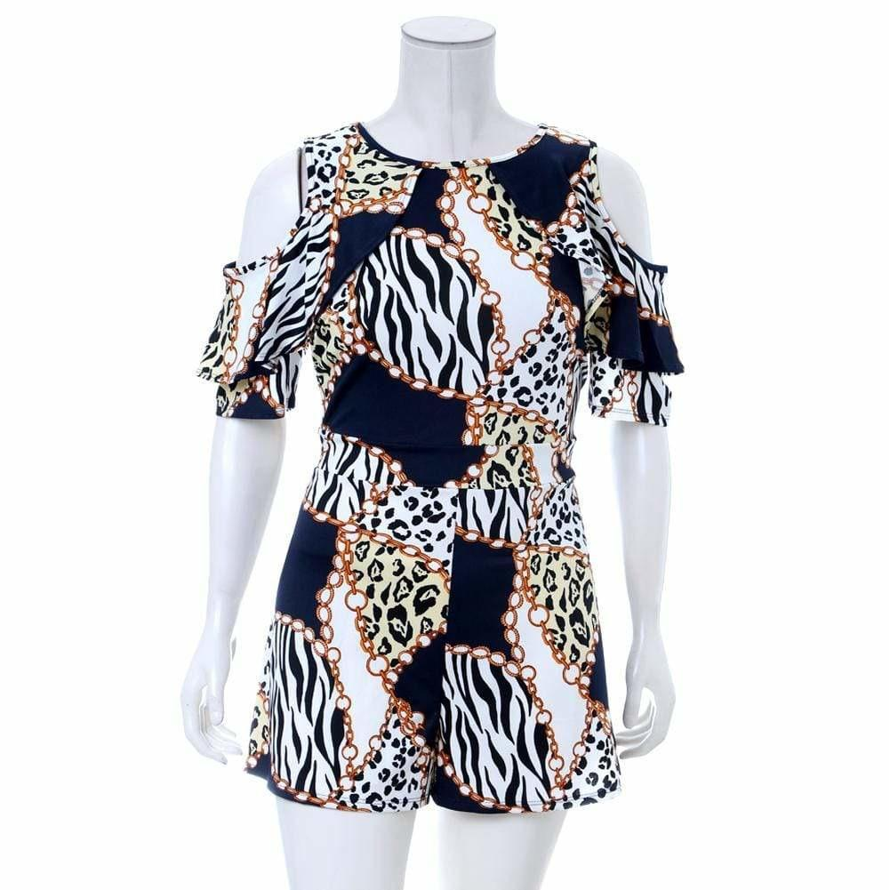 Posh Shoppe: Plus Size Cold Shoulder Chain Print Romper Dress