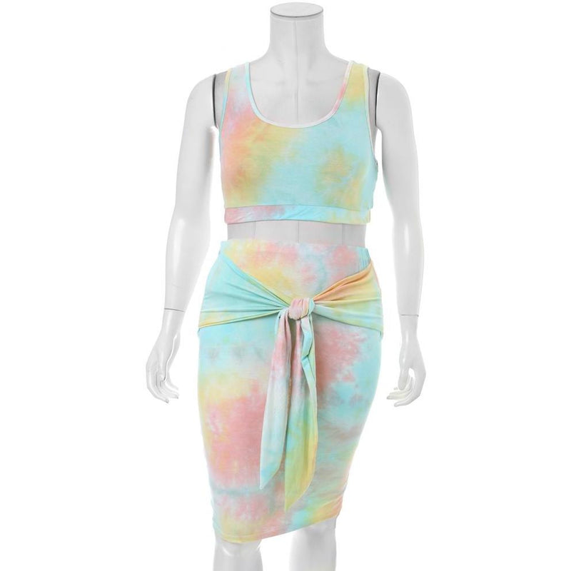 Plus Size Tie Dye Top and Skirt Coordinated Set
