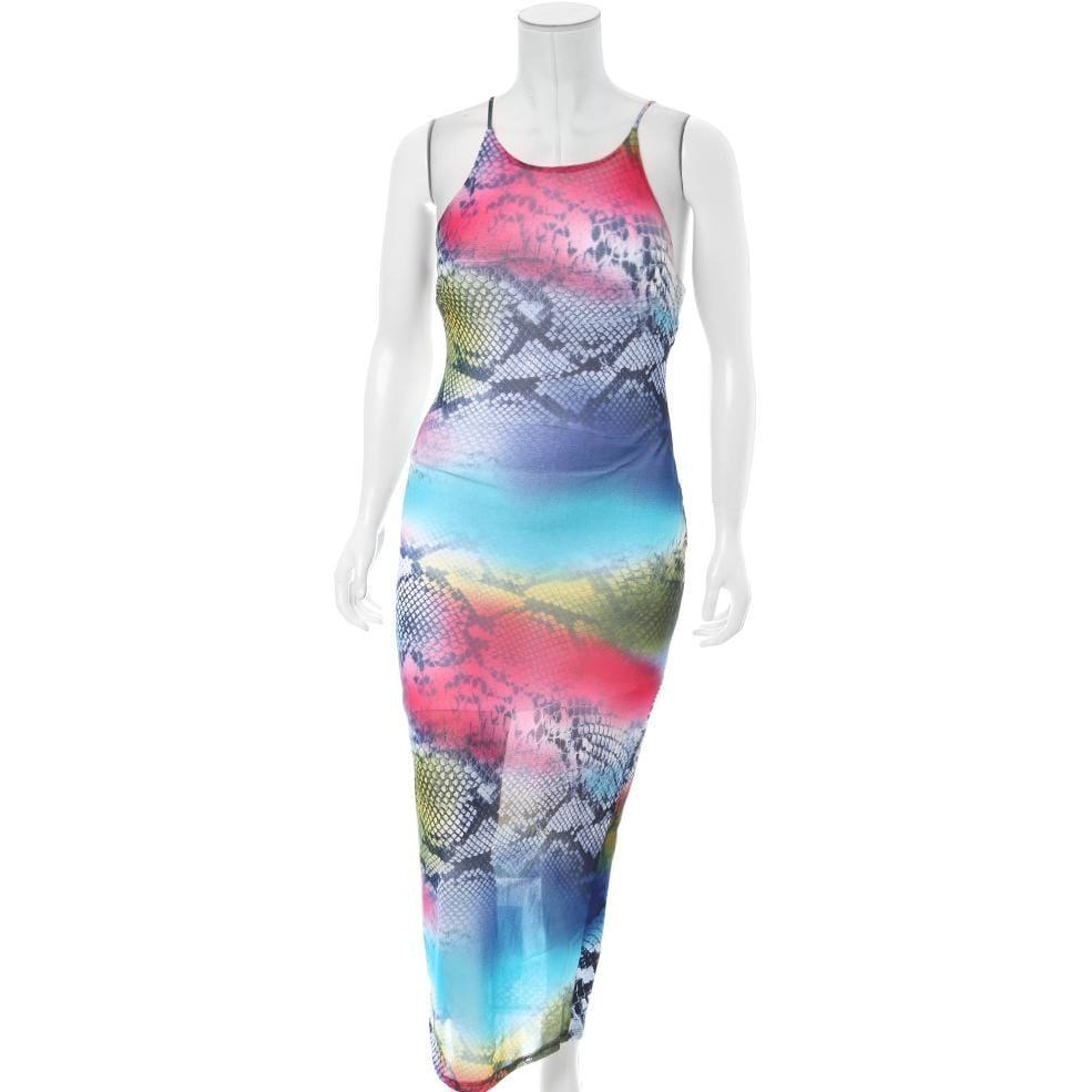Posh Shoppe: Plus Size Mix Print Sheer Maxi Dress Dress