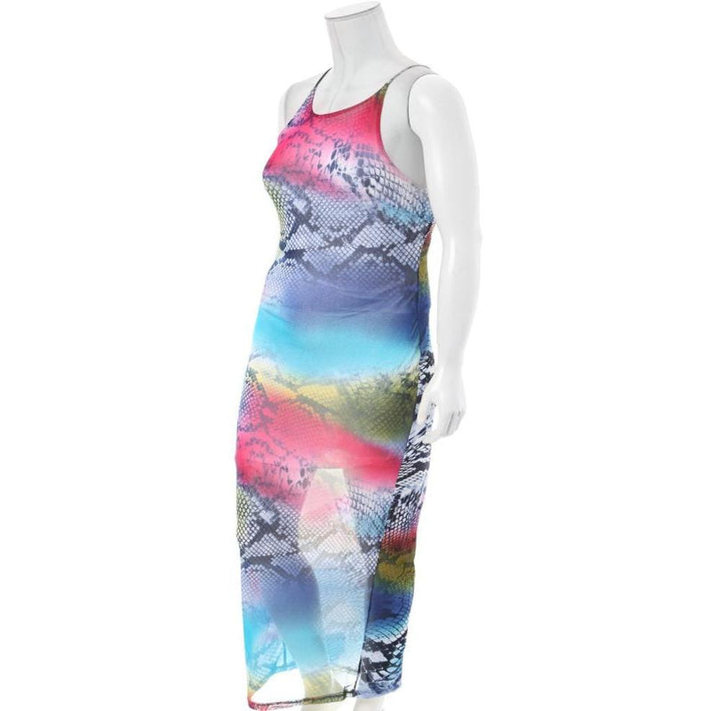 Plus Size Mix Print Sheer Maxi Dress