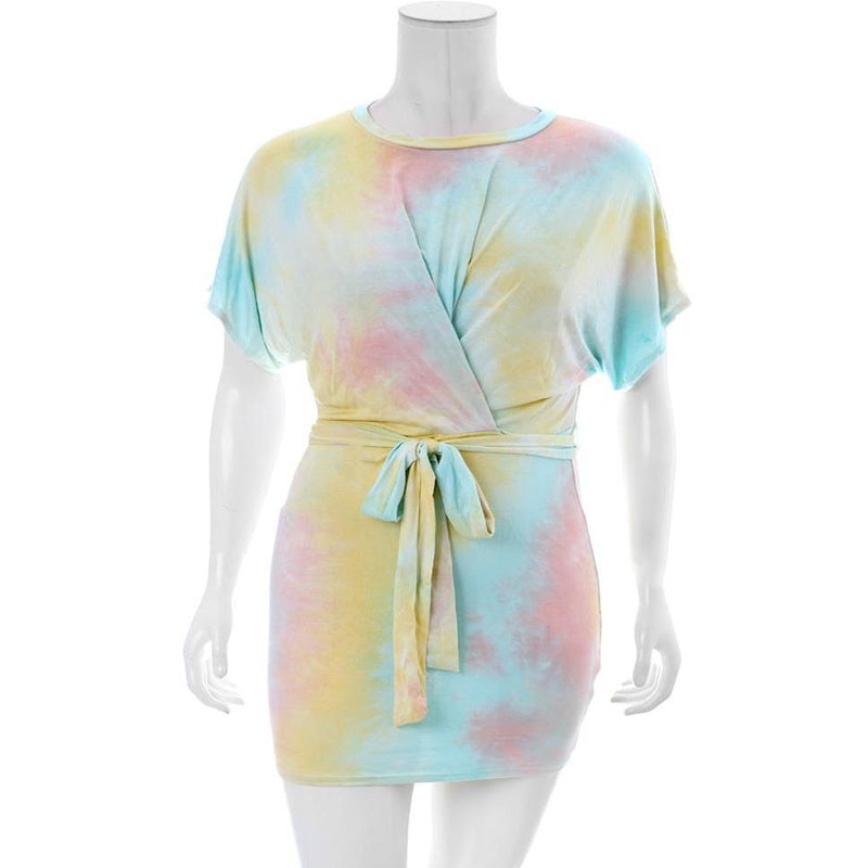 Plus Size Tie Dye Tee Shirt Dress, Sorbet