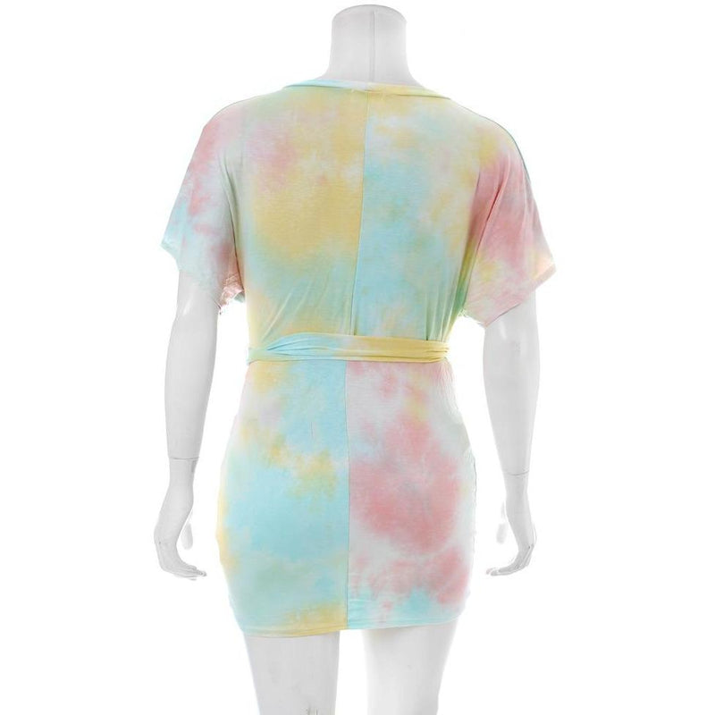 Posh Shoppe: Plus Size Tie Dye Tee Shirt Dress, Sorbet Dress