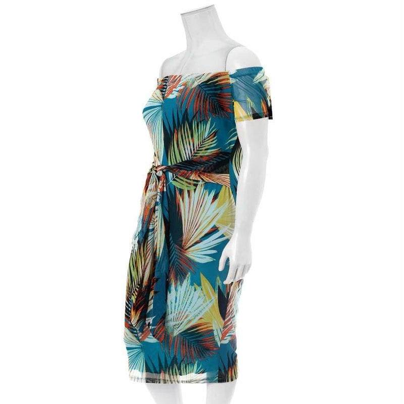 Posh Shoppe: Plus Size Off Shoulder Mesh Midi Dress, Palms Print Dress
