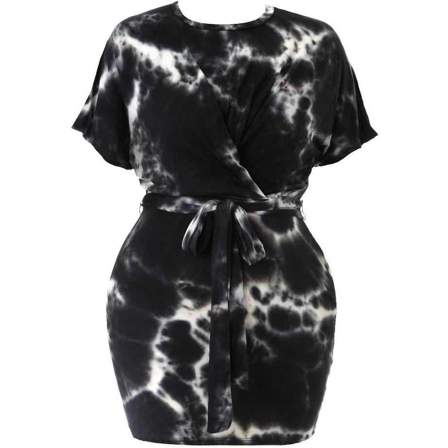 Plus Size Tie Dye Tee Shirt Dress, Black