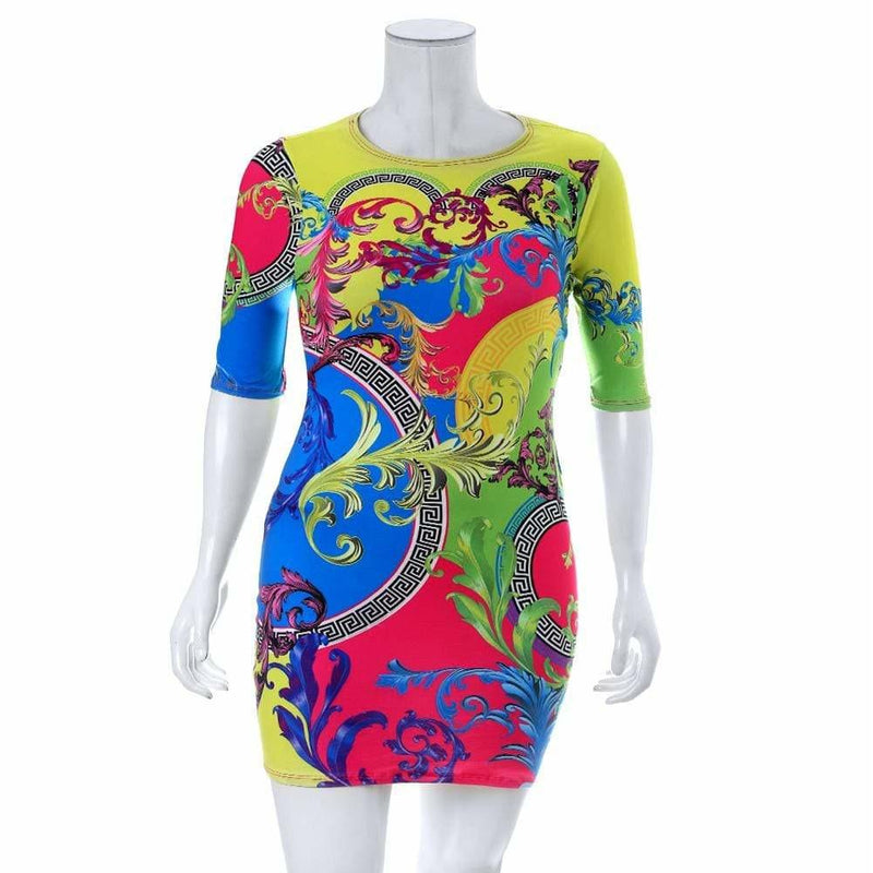 Plus Size Printed Mini Dress, Flourishes
