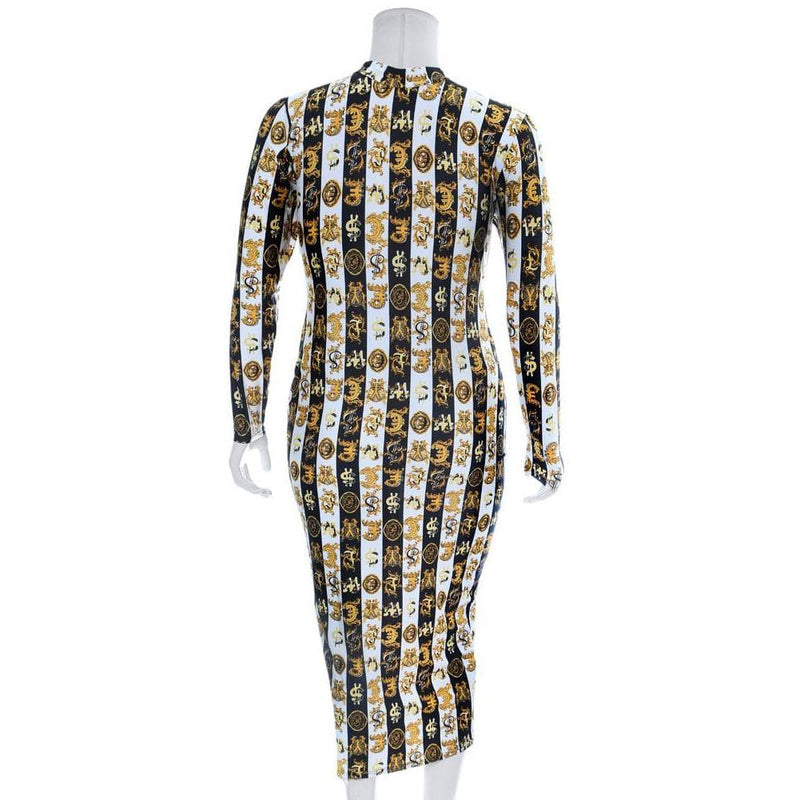 Posh Shoppe: Plus Size Reversible Zip Up Dress, Money Print Dress