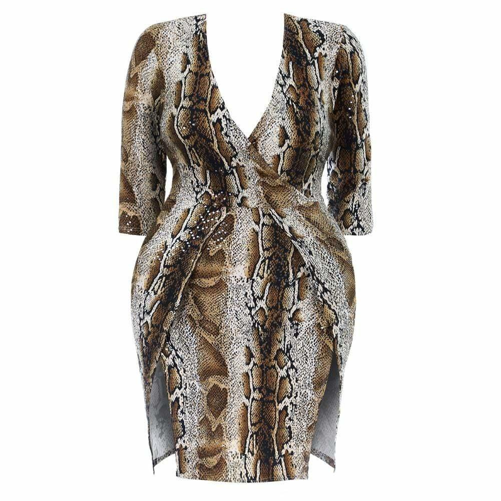 Plus Size Double Slit Mini Dress, Brown Snake Print