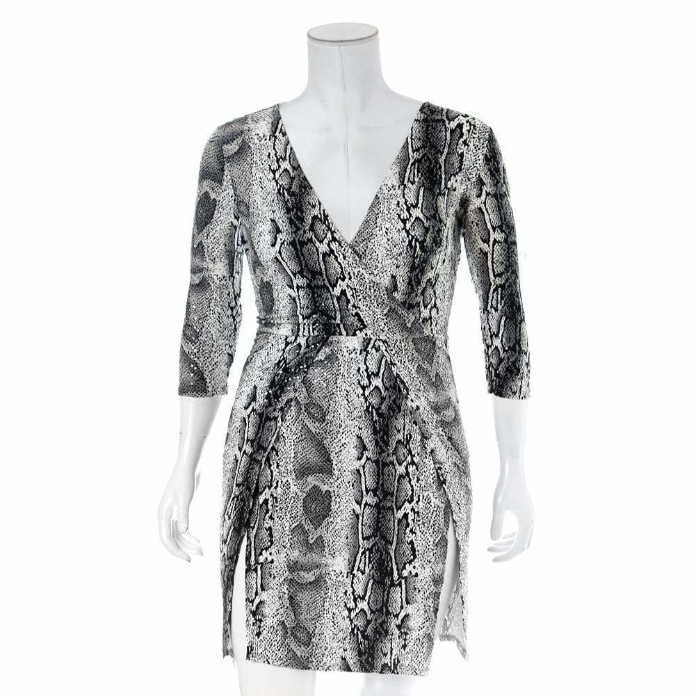 Posh Shoppe: Plus Size Double Slit Mini Dress, Gray Snake Print Dress