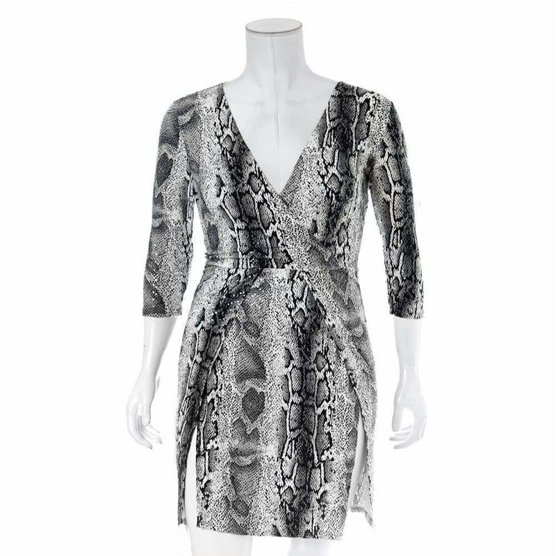 Plus Size Double Slit Mini Dress, Gray Snake Print