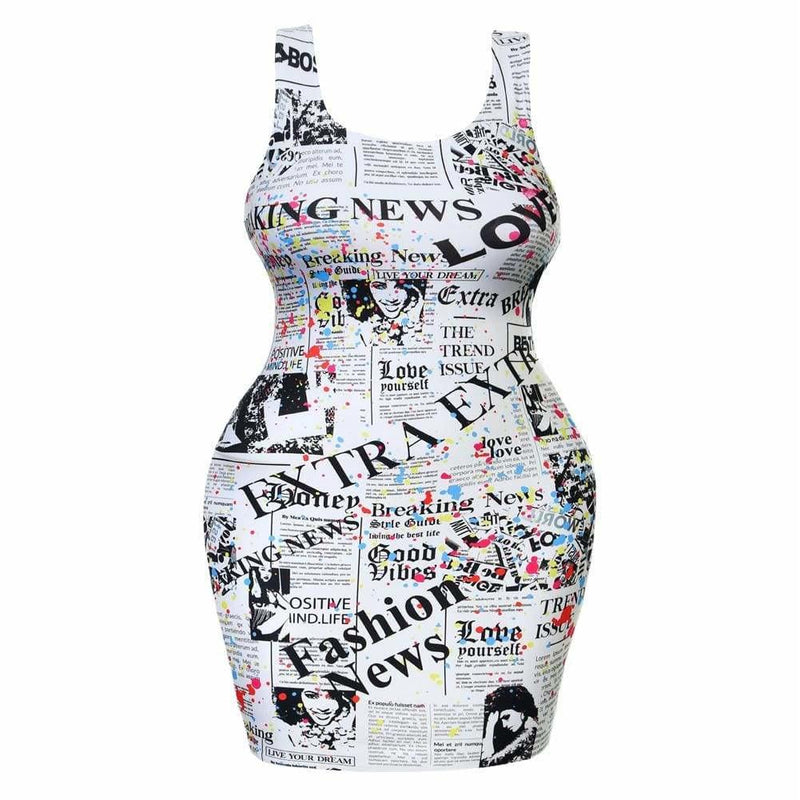 Posh Shoppe: Plus Size Tank Mini Dress, Newsprint & Paint Dress