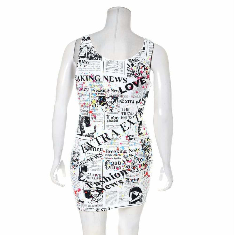 Plus Size Tank Mini Dress, Newsprint & Paint